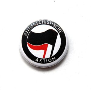 Antifaschistische Aktion – Button (schwarz/ rot)