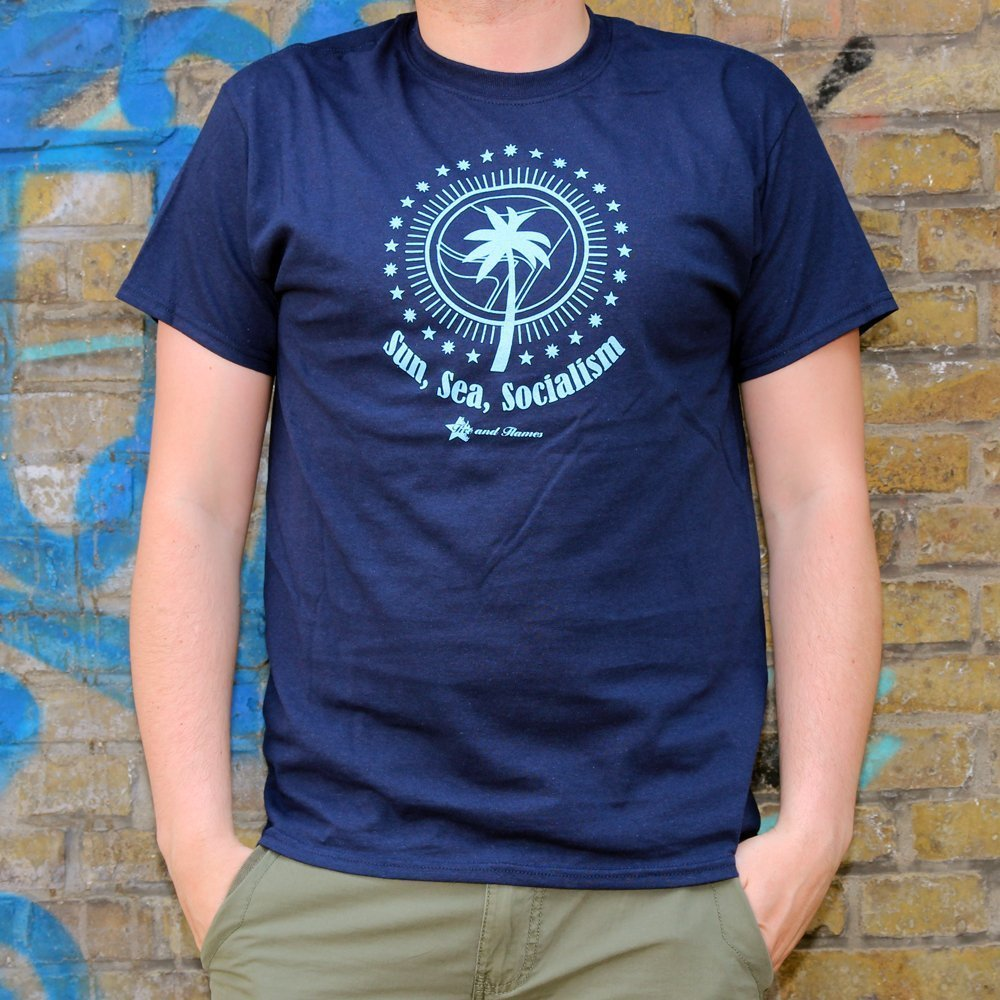 """Sun, Sea, Socialism"" Shirt (blue)"