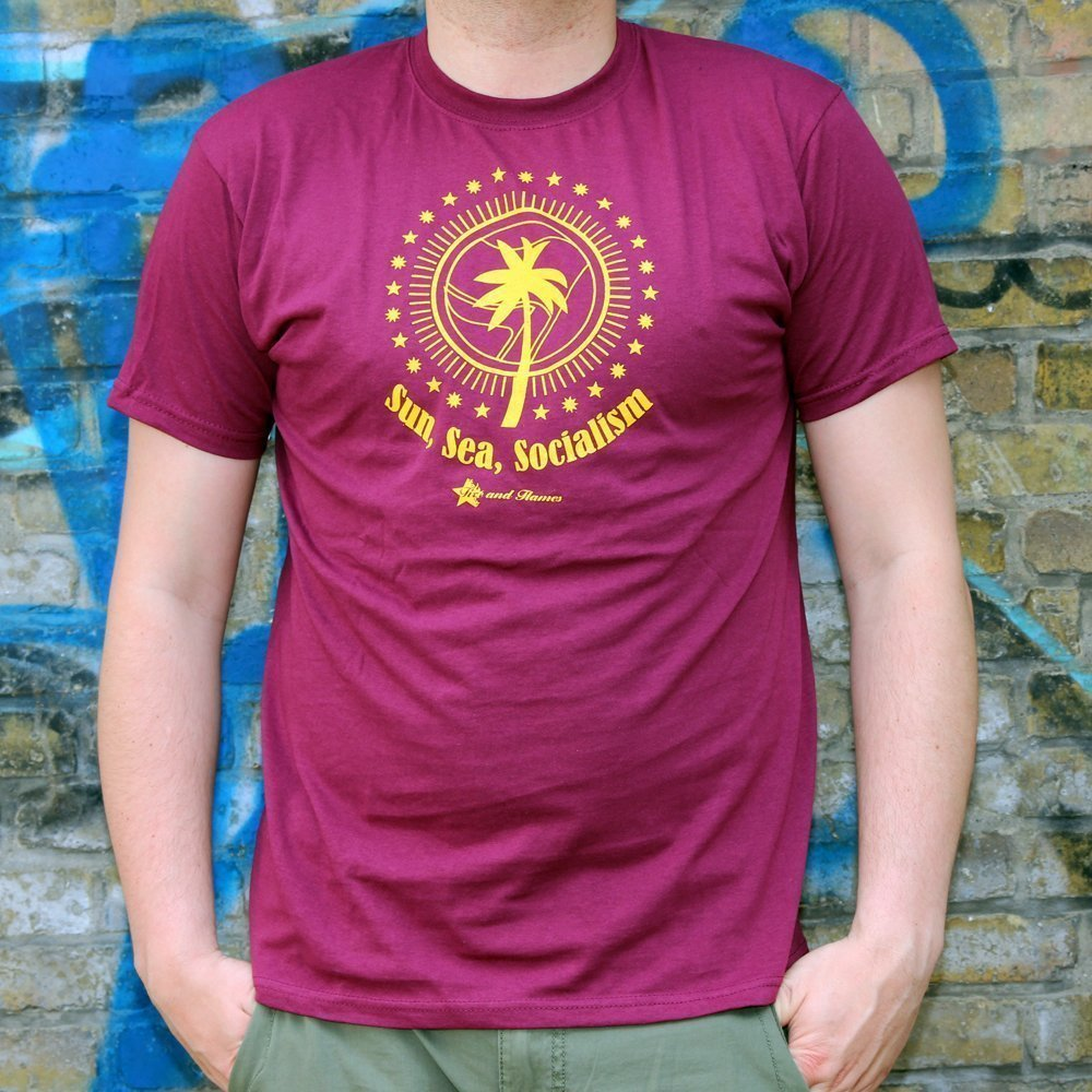 """Sun, Sea, Socialism"" Shirt (bordeaux)"