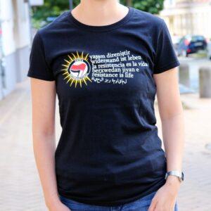 """Berxwedan"" Tailliertes Shirt (schwarz)"