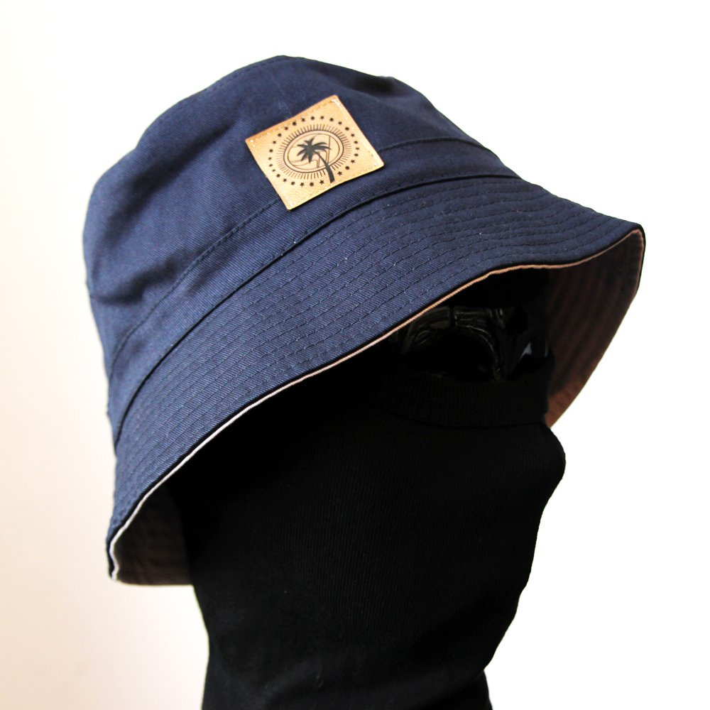 "Reversible Bucket Hat ""Sun, Sea, Socialism) (navy / white)"