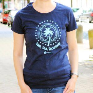"""""""Sun, Sea, Socialism"""" Tailliertes Shirt (blau)"""