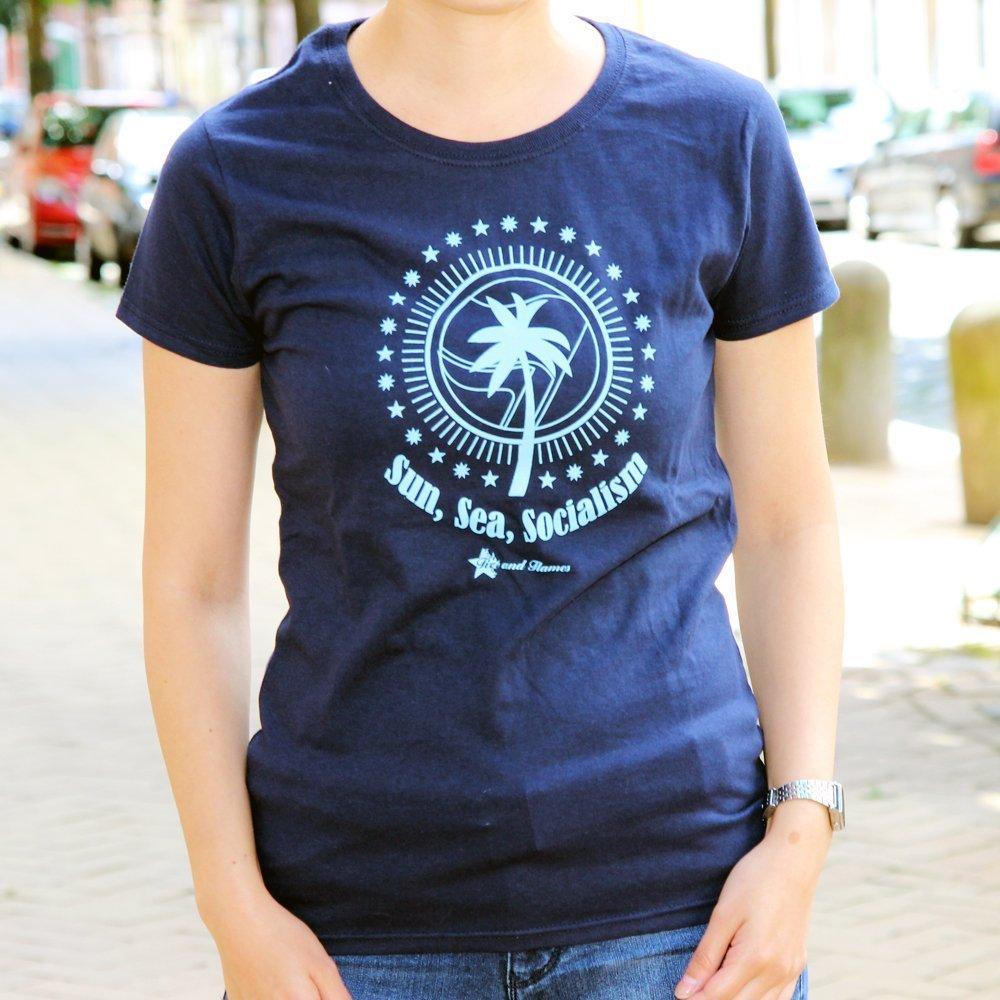 """Sun, Sea, Socialism"" Ladies Shirt (blue)"