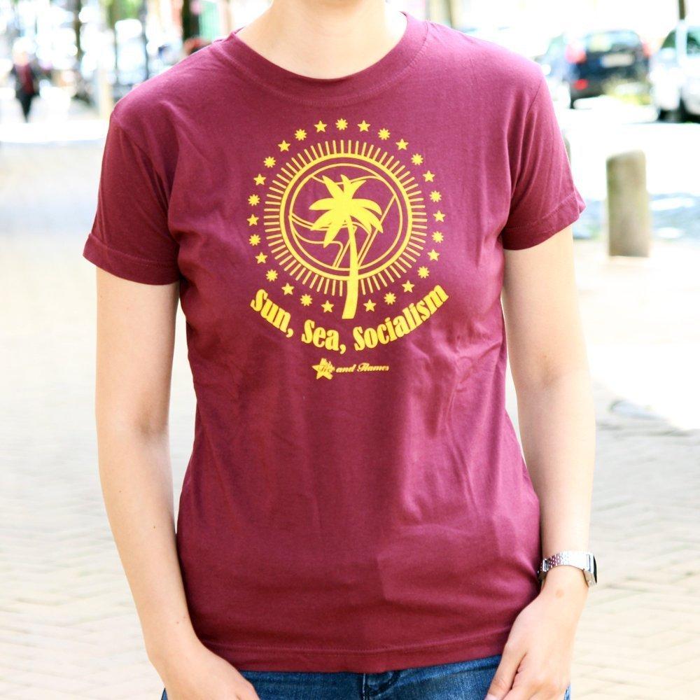 """""""Sun, Sea, Socialism"""" Ladies Shirt (bordeaux)"""