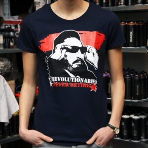 """Revolutionaries Never Retire"" Tailliertes Shirt (navy)"