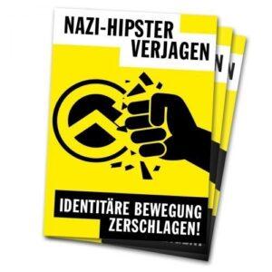 Nazi-Hipster verjagen! Identitäre Bewegung zerschlagen! – Sticker