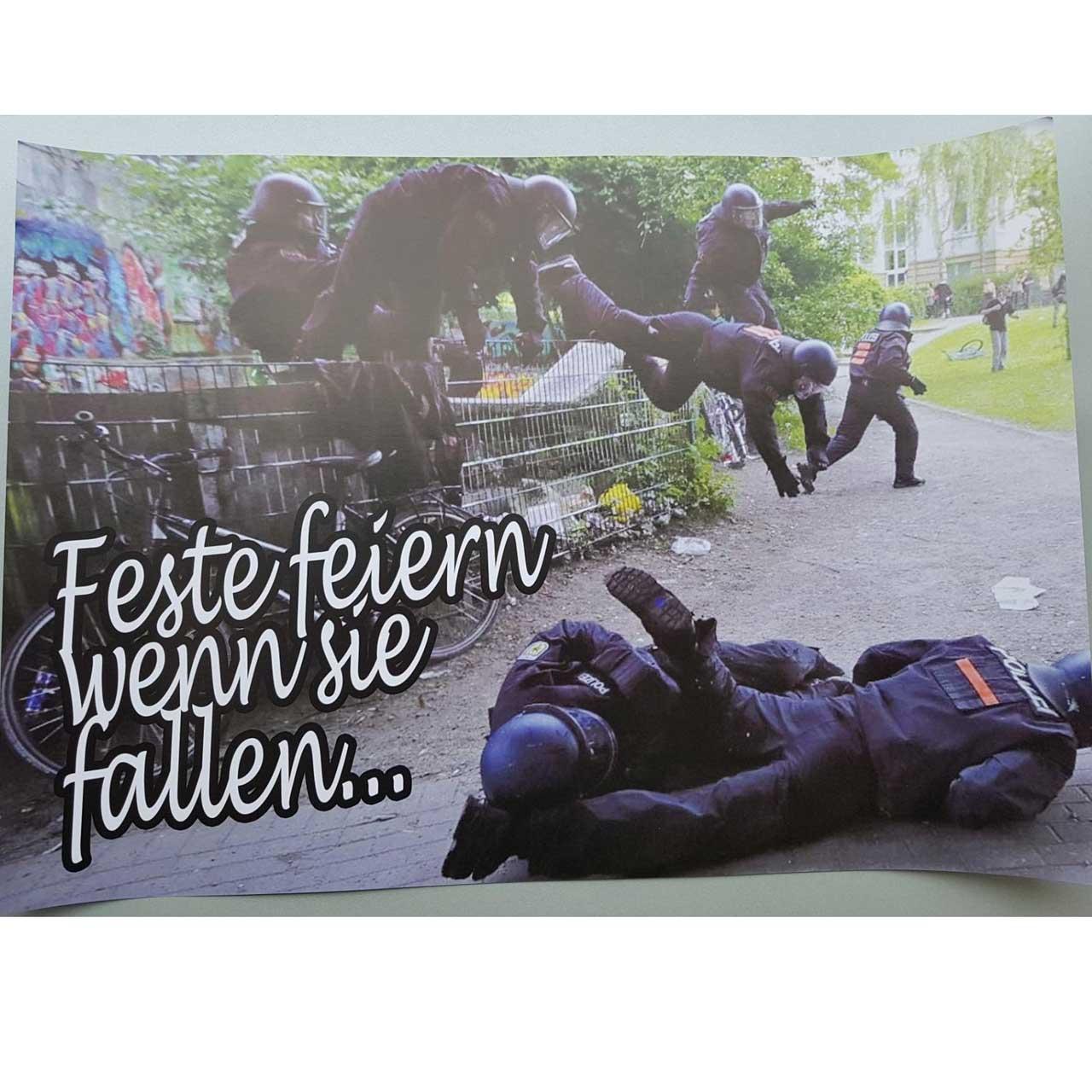 "Soli-Poster ""Feste feiern wenn sie fallen"""